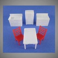 """Allied 1/2"""" 6 Piece Hard Plastic Kitchen Dollhouse Furniture"""