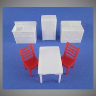 "Allied 1/2"" 6 Piece Hard Plastic Kitchen Dollhouse Furniture"