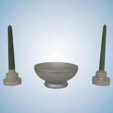 """Strombecker 3/4"""" Medium Green and Silver Pair of Candlesticks with a Silver Bowl Console Set Dollhouse Accessory"""