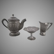 Pot Metal Covered Coffee Pot, Sugar and Creamer Dollhouse Accessories