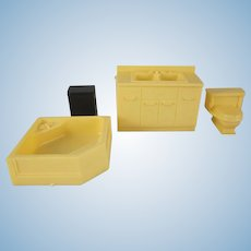 "Marx Imagination 1/2"" Hard Plastic 4 Piece Bathroom Dollhouse Furniture"