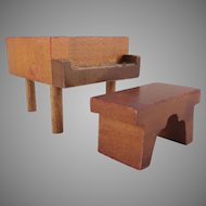 "Kage 3/4"" Piano and Bench Dollhouse Furniture"