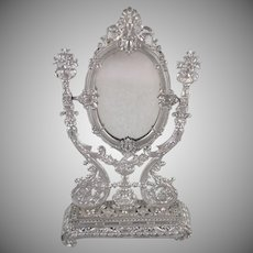 Ornate, Soft Metal Dresser Mirror Doll Accessory