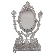 Ornate, Soft Metal Dresser Mirror Doll Accessory