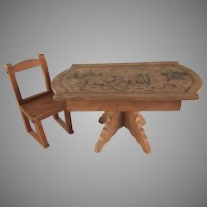 "Made in Germany 1"" Wooden Table with Stenciled Design and a Chair Dollhouse Furniture"