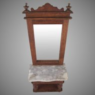 "Schneegas 1"" Golden Oak Pier Mirror/Hall Stand Dollhouse Furniture"