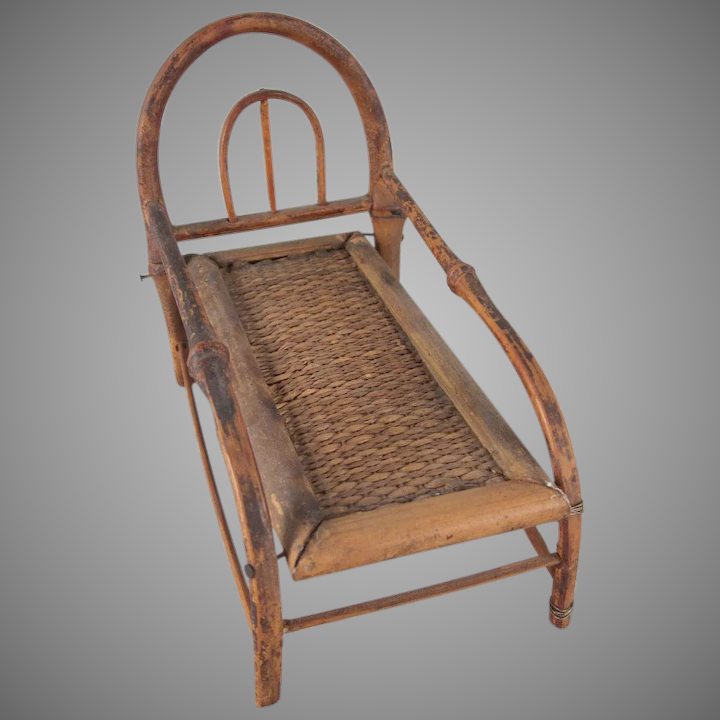 Made In An 1 Bamboo Chaise Lounge Dollhouse Furniture Milkweed Antiques Ruby Lane
