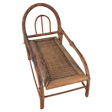 """Made in Japan 1"""" Bamboo Chaise Lounge Dollhouse Furniture"""