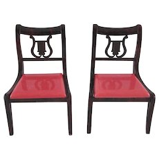 """Pair of Ideal 3/4"""" Dining Room Chairs with Red Seats Dollhouse Furniture"""