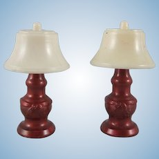 """Pair of Renwal No. 71 3/4"""" Metallic Bronze Table Lamps Dollhouse Accessories"""