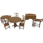 """Tootsie Toy 1/2"""" 8 Piece 1924 Dining Room Dollhouse Furniture"""