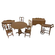 "Tootsie Toy 1/2"" 8 Piece 1924 Dining Room Dollhouse Furniture"
