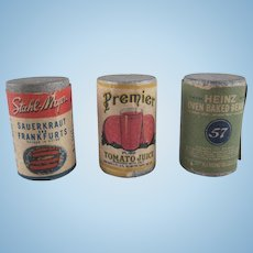 Vintage Food Products Wooden with Labels Tomato Juice, Baked Beans, Sauerkraut and Franks Dollhouse Accessories