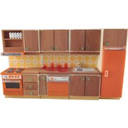 """Lundby 3/4"""" Continental II Kitchen 4 Pieces Plus Dishes Dollhouse Furniture"""