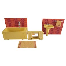 "Lundby 3/4"" Bathroom Tub,  Sink and Medicine Cabinet with a Floor Mat Dollhouse Furniture"