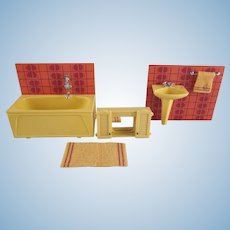 "Lundby 3/4"" Bathroom Tub,  Sink and Medicine Cabinet with a Floor Mat Dollhouse Furniture"