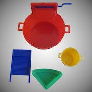 "Hard Plastic Toy Wringer Wash  Tub with 3 Accessories for Your 8-10"" Doll"