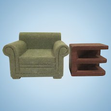 "Strombecker 3/4"" Green Flocked Club Chair and Corner Tiered End Table Dollhouse Furniture"