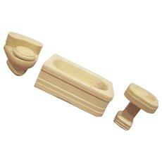"""Strombecker 3/4"""" 3 Piece Bathroom Dollhouse Furniture"""