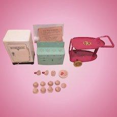 Marx Steel 3 Piece Kitchen Set in Original Box with Wooden Dishes