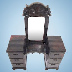 "Ideal 3/4"" Vanity with Glass Mirror Dollhouse Furniture"