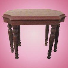 "Strombecker 1"" 1936 Turtle Back Sofa Table Dollhouse Furniture"