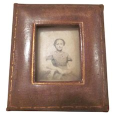 Leather Miniature Frame with a Photo of a Young Girl