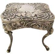 Hallmarked Ornate Dollhouse Miniature Table 800 Silver