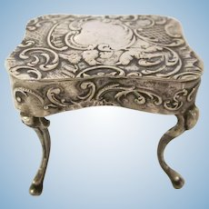 Hallmarked Ornate Dollhouse Miniature Table 800 Silver