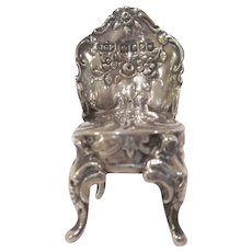 Hallmarked Sterling Silver Miniature Dollhouse Chair