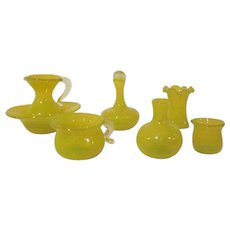 Made in Germany Blown Glass Miniature 7 Piece Wash Set Dollhouse Accessories