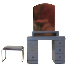 "Strombecker 1"" 1936 Modern Bathroom Vanity and Bench Dollhouse Furniture"