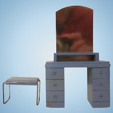 "Strombecker 1"" 1936 Modern Bathroom Vanity and Bench Dollhouse Furniture"