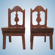 """Strombecker 1"""" 1936 Pair of Dining Room  Chairs Dollhouse Furniture"""