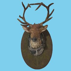 Made in Germany Soft Metal Deer Head Taxidermy to Hang Dollhouse Accessory