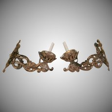 Pair of Gilt Covered Soft Metal Sconce Candle Lamps Dollhouse Accessories