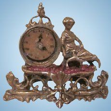 Gilt Covered Soft Metal Ornate Clock with Lady Miniature Dollhouse Accessory