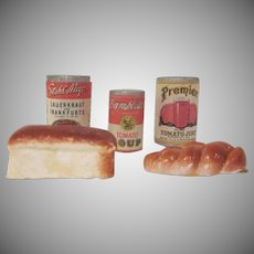 Group of 3 Wooden Cans and 2 Plaster Dollhouse Food Accessory