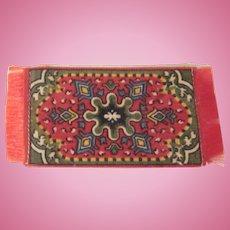 Flannel Felt Dollhouse Rug in Red and Khaki Tobacco Freebie Dollhouse Accessory #3