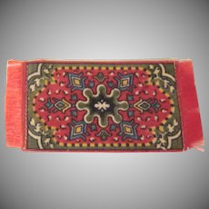Flannel Felt Dollhouse Rug in Red and Khaki Tobacco Freebie Dollhouse Accessory #3