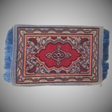Felt Flannel Dollhouse Rug Gray Blue and Red Accessory #5