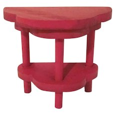 "Strombecker 1"" 1931 Red 1/2 Turtle Back End Table Dollhouse Furniture"
