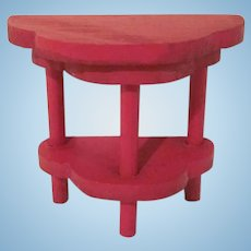 """Strombecker 1"""" 1931 Red 1/2 Turtle Back End Table Dollhouse Furniture"""