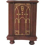 """Strombecker 1"""" 1935 Walnut Floor Radio Dollhouse Furniture"""