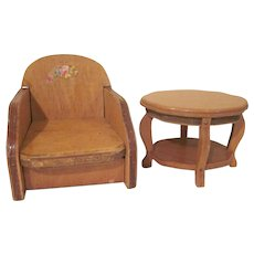 """Wanner Grand Rapids 1-1/2"""" Club Chair and Turtle Back Table Dollhouse Furniture"""