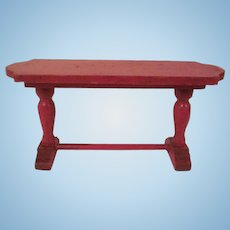 """Strombecker 1"""" 1931 Red Library Table Dollhouse Furniture"""