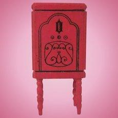 "Strombecker 1"" 1931 Red Floor Radio on Turned Legs Dollhouse Furniture"