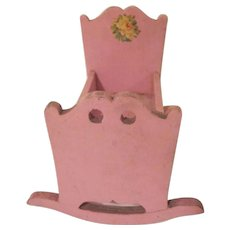 """Home Made Folk Art Pink 1-1/2"""" Cradle with Rose Decal Dollhouse Furniture"""