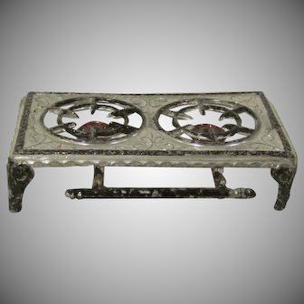 "Tynietoy 1"" Soft Metal 2 Burner Hot Plate Dollhouse Accessory"