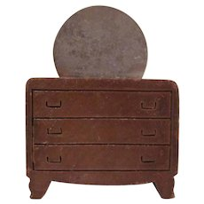 "Kage 3/4"" Wooden Dresser with Round Steel Mirror and Indented Handles Dollhouse Furniture"